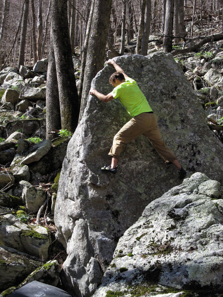 "Rock Climbing Photo: Ross on the FA of ""Sauce Arete"""