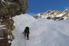 Rock Climbing Photo: Working up P1.