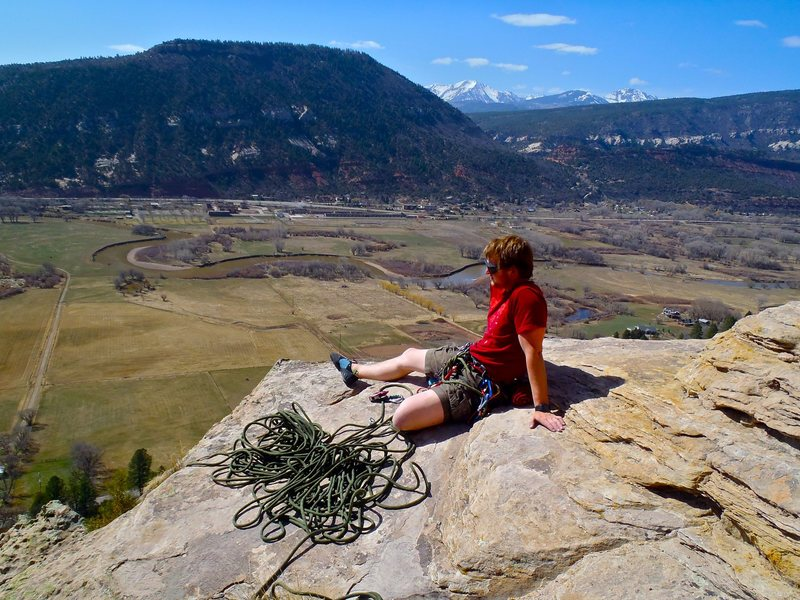 "Tim on the ""summit"" of Simians in early spring. Not a bad place to be on a sunny afternoon in Durango...."