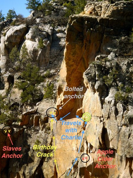 &quot;Charlie&quot; beta in blue.  End pitch 1 behind a boulder at a GEAR BELAY (0.75, 1, large stopper) indicated by green circles.<br> <br> Traverse left on the money pitch.<br> <br> Rappel off the anchor above &quot;birthday crack&quot; (I'm not sure a 60 will get you to the ground. If not, go half way to the ledge for &quot;Texas Sucks&quot; and do a secondary rappel)