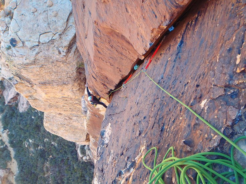 Rock Climbing Photo: Pitch 5 - solid for the grade.