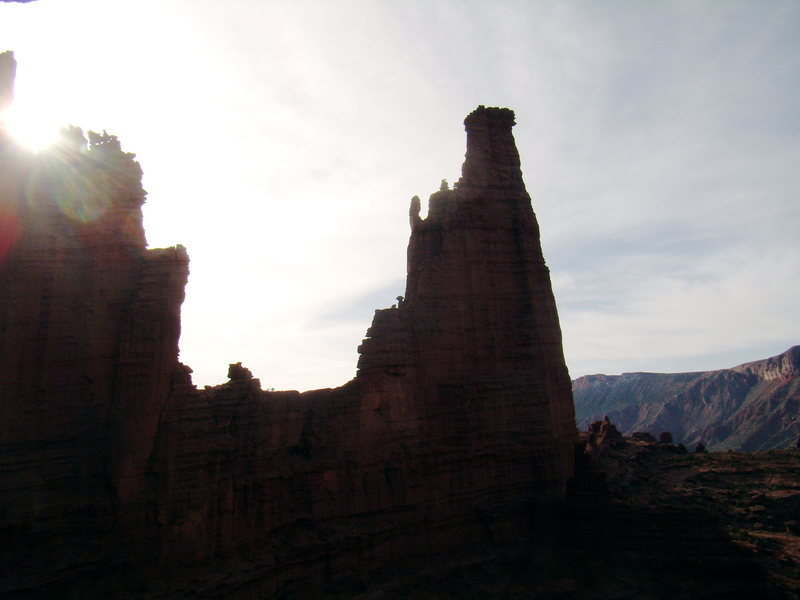 View of the Titan from saddle on West Side Story - Cottontail Tower - Fisher Towers, UT - With Bill Duncan - March 26th and 27th 2012.