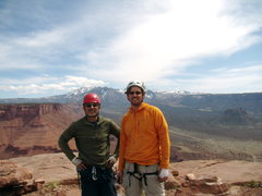 Rock Climbing Photo: Mike and I on top. North Chimney - Castleton Tower...