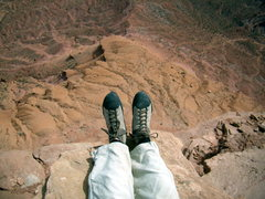 Rock Climbing Photo: My feet from summit  -  North Chimney - Castleton ...