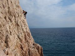 Rock Climbing Photo: Traversing down and into the Nolitudine sector of ...