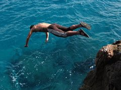 Rock Climbing Photo: Capo Noli too hot?  Take a dip!