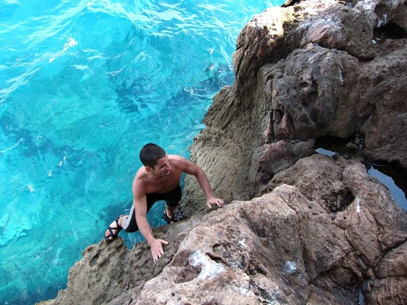 Rock Climbing Photo: Some mild DWS at Capo Noli.  Watch out for sharp r...