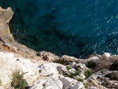 Rock Climbing Photo: Looking down a route at Nolitudine at Capo Noli