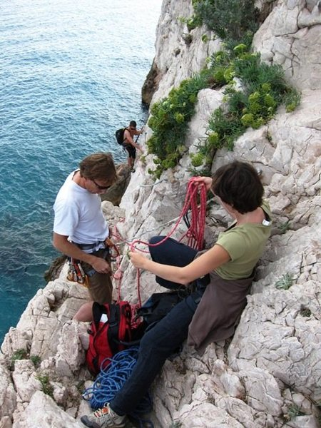 Rock Climbing Photo: Couple of folks getting ready to belay the via fer...