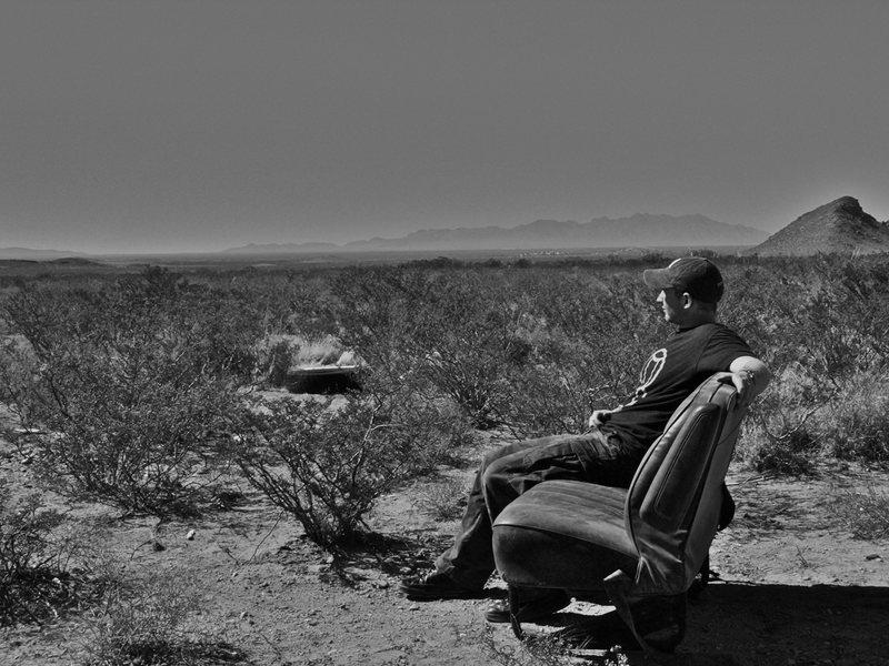 Dessert car seat at Hueco Rock Ranch