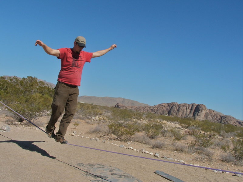 Slack line at Hueco Rock Ranch