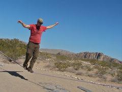 Rock Climbing Photo: Slack line at Hueco Rock Ranch