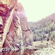 Rock Climbing Photo: Andrew Tower starting up the 12a jug haul Redneck ...