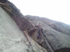 Rock Climbing Photo: Colin Simon working the heady crux of Perelandra o...