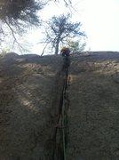 "Rock Climbing Photo: Corey leading ""Ball of Confusion""."