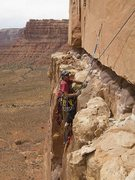 Rock Climbing Photo: Chip Wilson cleaning near end of pitch 1.