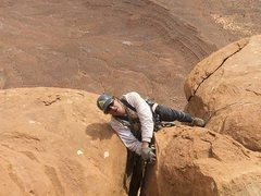 Rock Climbing Photo: Chip puling round the final roof on pitch 3
