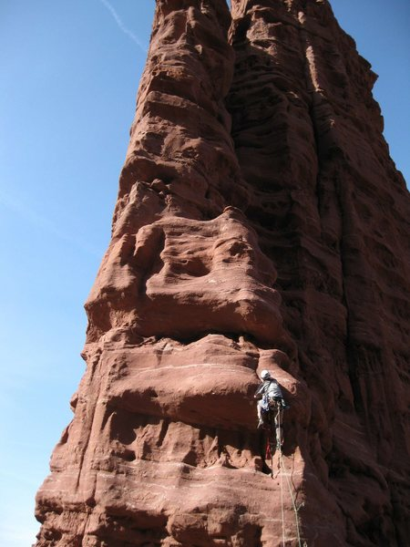 Alan Ream climbing pitch 5 - the first pitch from the saddle between Cottontail & Echo.