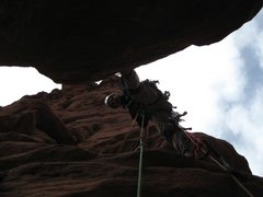 Rock Climbing Photo: Alan on pitch 7 of Cottontail, just before startin...