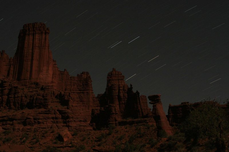 The Fisher Towers at night.