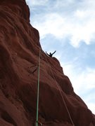 Rock Climbing Photo: Alan waving from the top of pitch 7, West Side Sto...