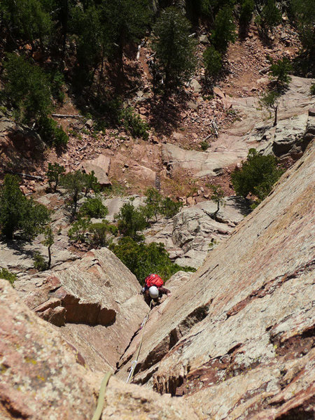 Rock Climbing Photo: Joan enjoying the dihedral on P2.