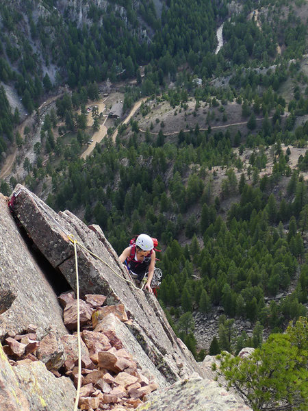 Rock Climbing Photo: Finishing the airy arete on the Joan variation.