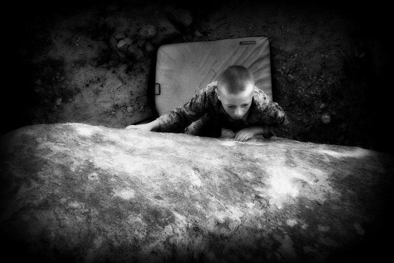 Rock Climbing Photo: My son Hyrum on an unknown problem