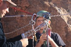 Rock Climbing Photo: My son getting ready for the ride
