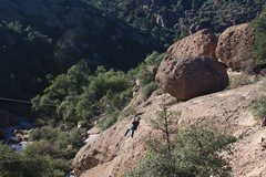 Rock Climbing Photo: my son on the zip line. is it bad if used him as t...