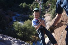 Rock Climbing Photo: My other son getting ready to head across. he lost...
