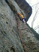 First lead on gear at Pictured Rock! Cams and tricams to lead Collin's Crack!