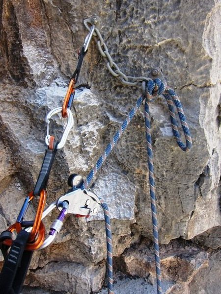 Gri Gri rappel from figure eight knot
