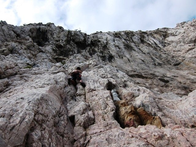Rock Climbing Photo: View of Madunetta.  John cleanin' 'er up.