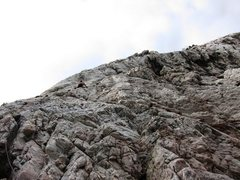 Rock Climbing Photo: John gets the rope up Strie at the Nolitudine sect...