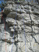 Rock Climbing Photo: The red route on the left is Das erste Mal, and th...