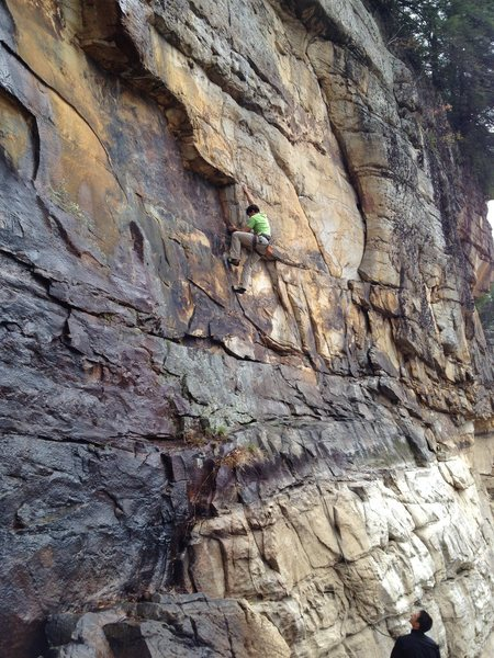 Rock Climbing Photo: Looking cool on crux #1