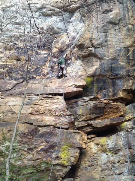 Rock Climbing Photo: Pulling the bolted crux move