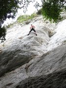Rock Climbing Photo: Climber on the classic Sotto L'Edera at the main c...