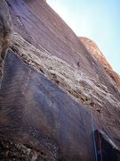 Rock Climbing Photo: 1st pitch of Rock Warrior. As with all of the pitc...