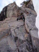 Rock Climbing Photo: Elias in the 'Changing Corners' section of Crown o...