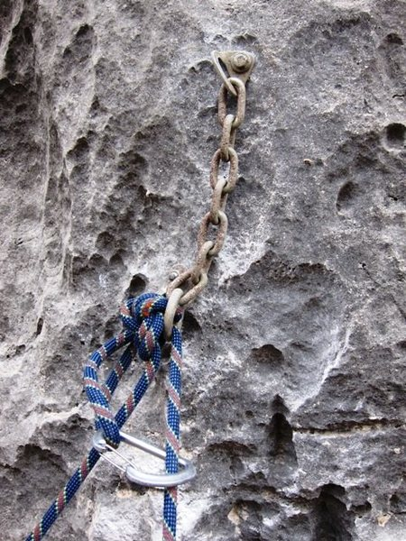 Rock Climbing Photo: rappel from knot against ring with backup biner