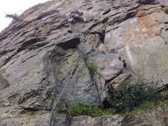 Rock Climbing Photo: Me leading pitch one of the Balcony (5.6?) on the ...