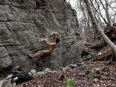 Rock Climbing Photo: Aaron James Parlier on the first move off of the s...