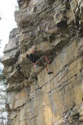 Rock Climbing Photo: Kevin R pulling through the crux of Devil in the W...