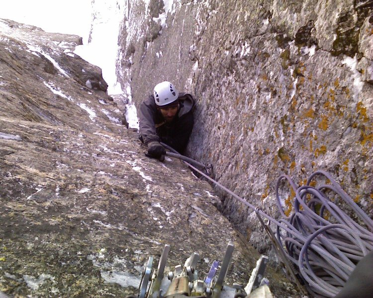 Rock Climbing Photo: Andy Grauch exiting the squeeze chimney and starti...