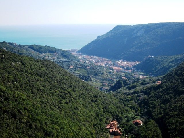 View towards Finale Ligure from the top of the Settore Centrale at Monte Sordo