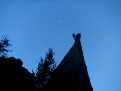 Rock Climbing Photo: Finishing up the route while the sun goes down ove...