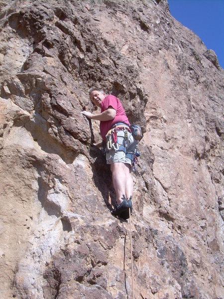 "Rock Climbing Photo: Starting across the ""Spiderwalk"" pitch."