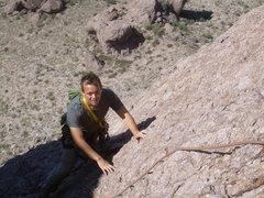 Rock Climbing Photo: Mike follows the 2nd pitch. Very cool face climbin...
